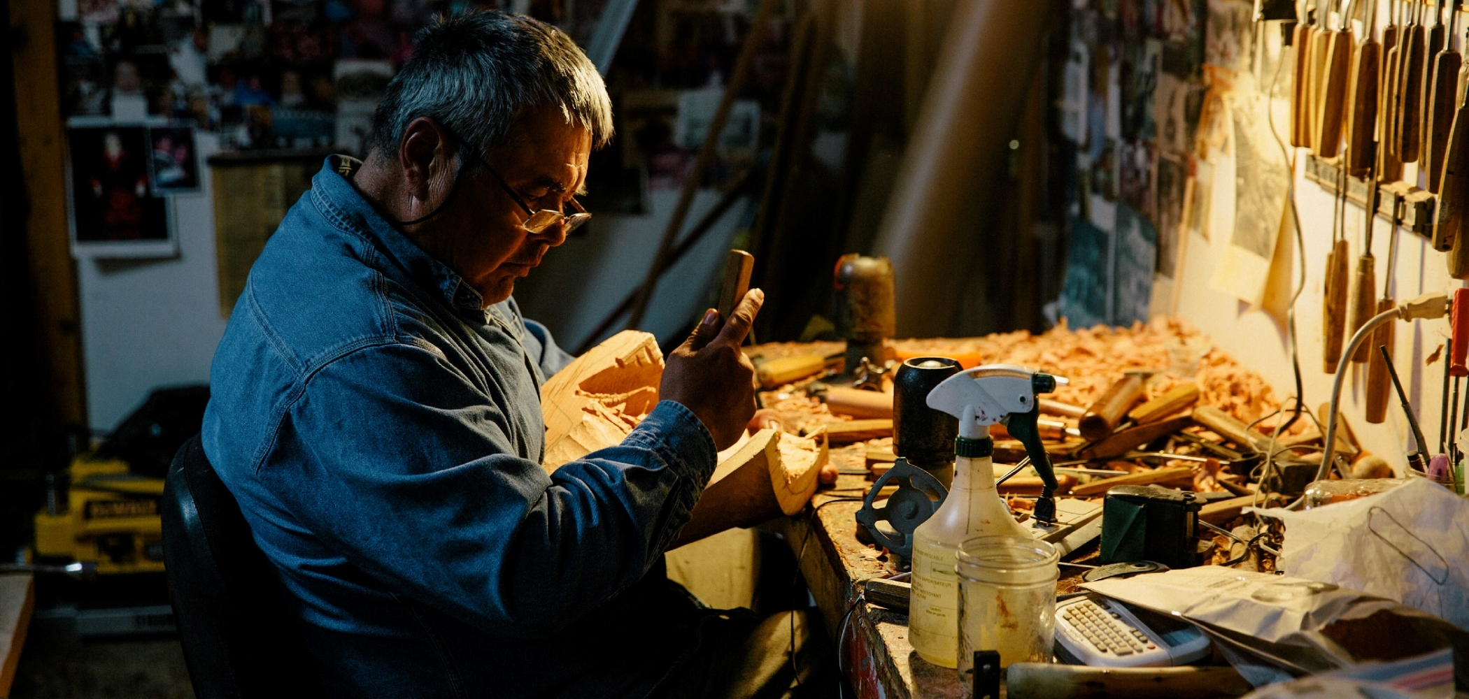 Reg Davidson, a local carver in his shop