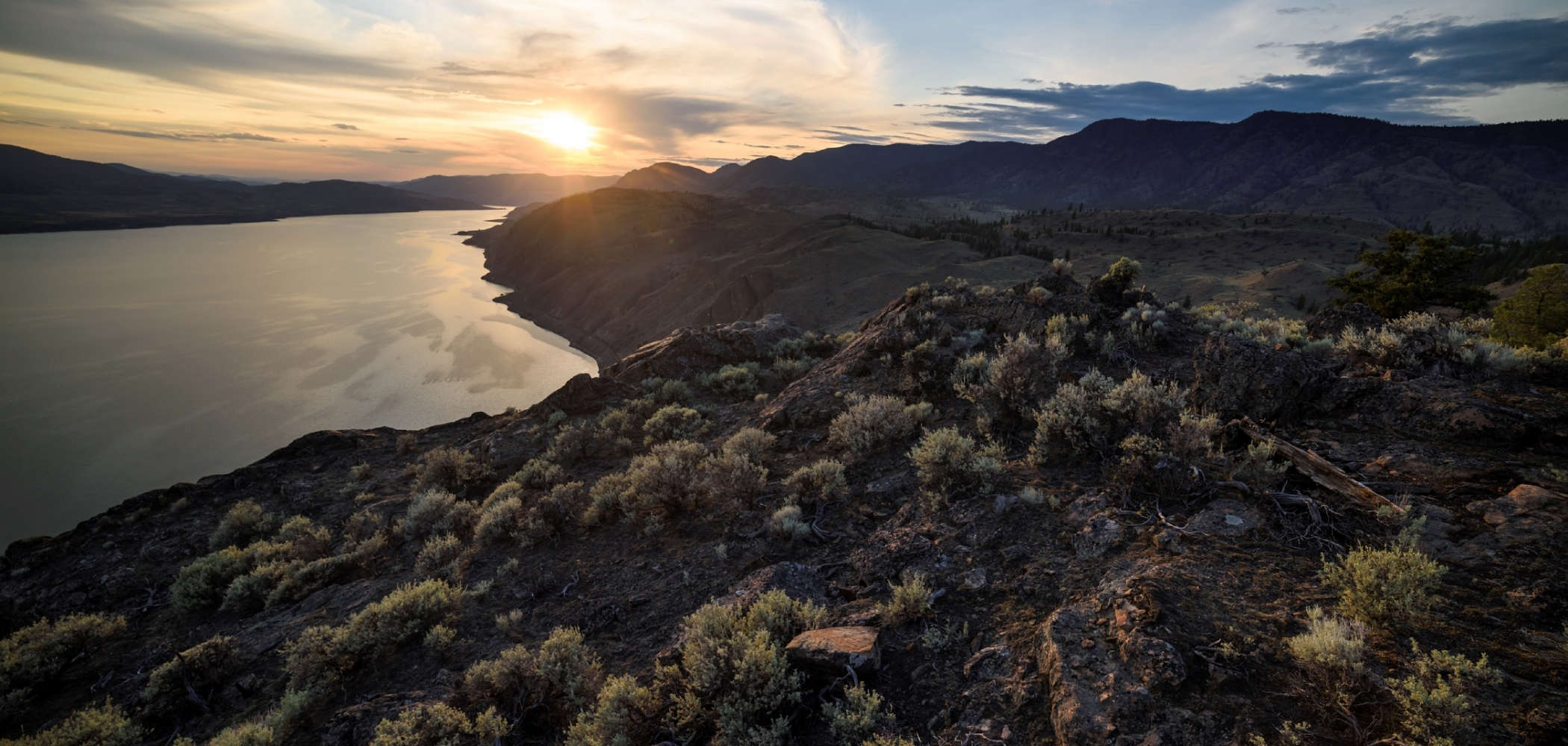 Sunset from atop Battle Bluff, Lac Du Bois Grasslands Protected Area, Kamloops British Columbia
