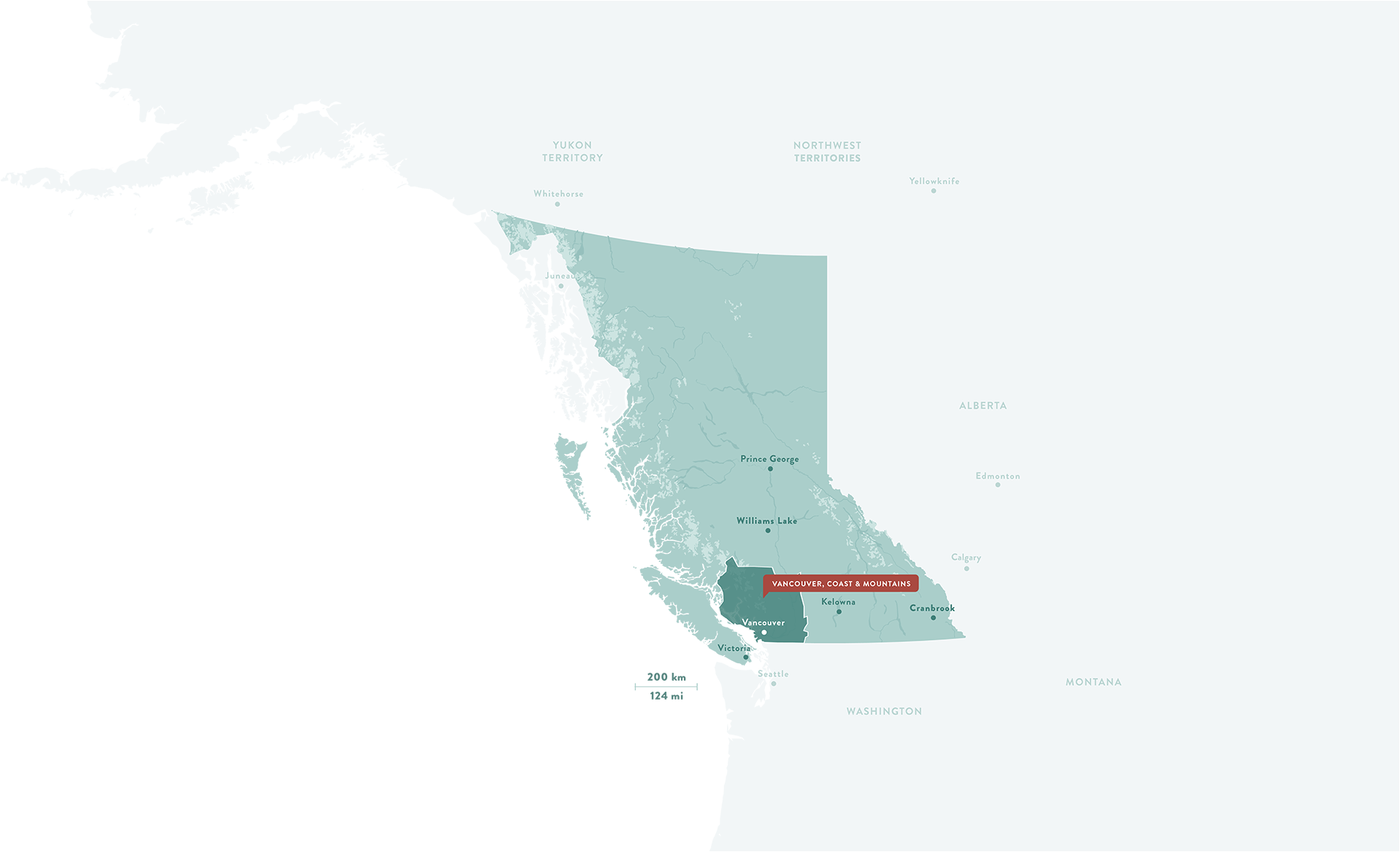 A map of British Columbia with Vancouver, Coast, and Mountains highlighted.