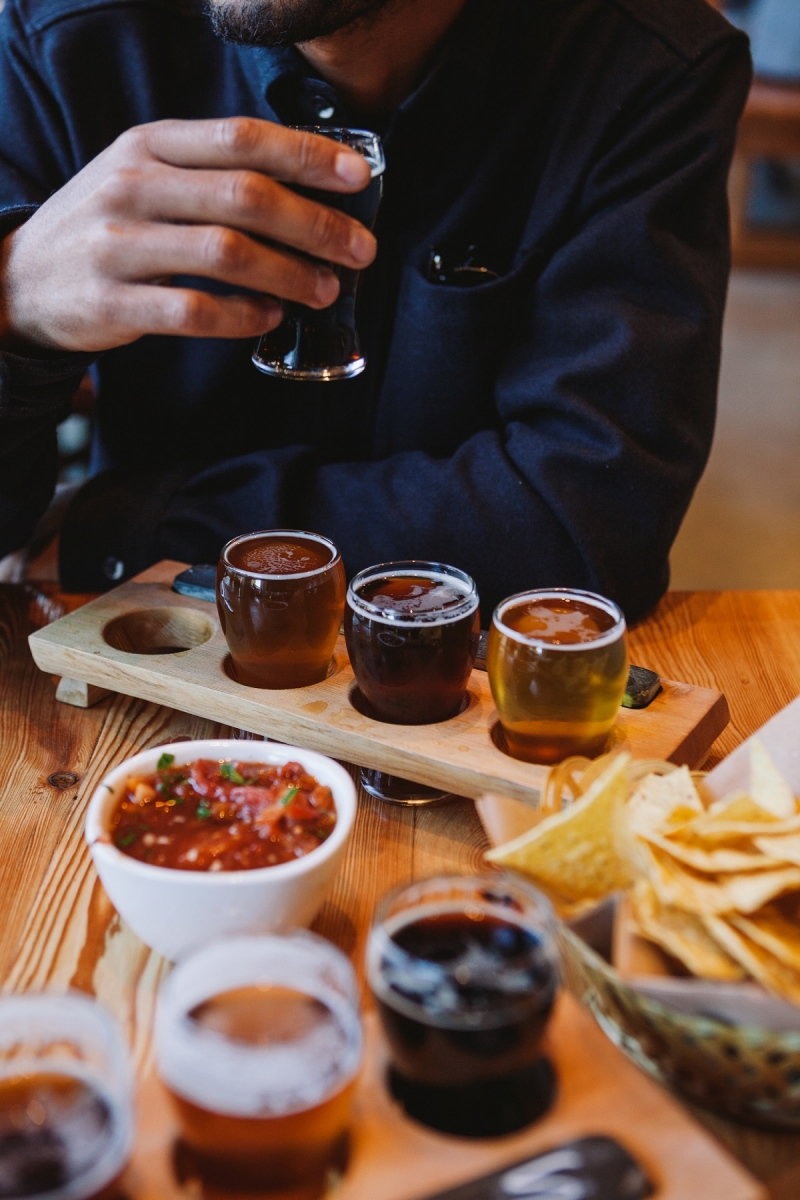 Beer tasting at Beach Fire Brewing in Campbell River, Vancouver Island