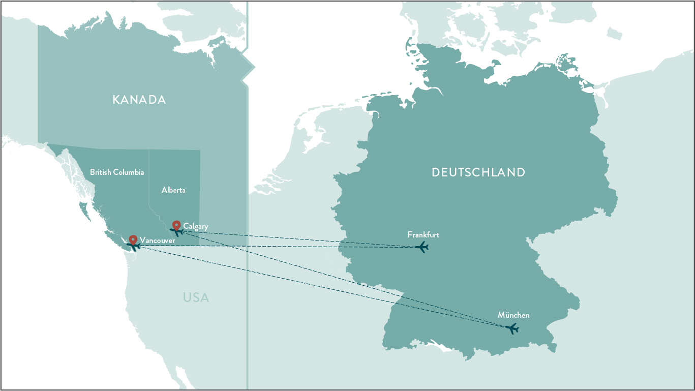 Germany to BC Flight Map